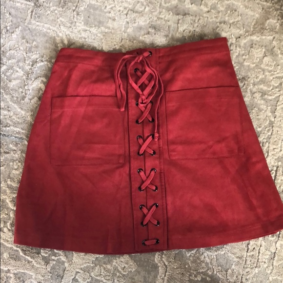 Olivaceous Dresses & Skirts - Red suede skirt
